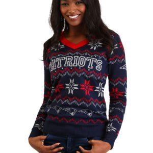 New England Patriots Women's Light Up V-Neck Bluetooth Ugly Christmas Sweater
