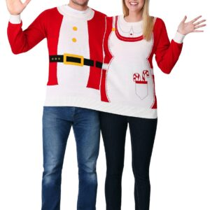 Adult Two Person Mr. & Mrs. Claus Ugly Christmas Sweater